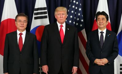 Leaders of S. Korea, U.S. Japan agree to draw tougher UNSC sanctions on N. Korea