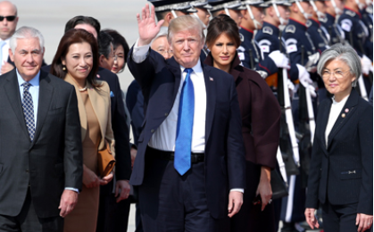 Moon welcomes Trump at U.S. military base