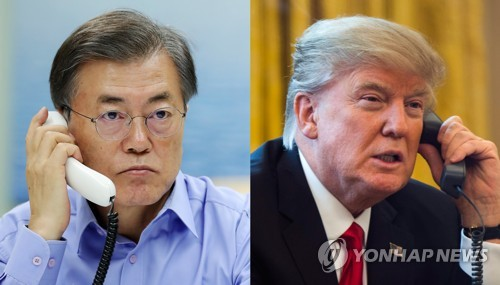 Moon, Trump agree to bring N. Korea to dialogue table thru sanctions, pressure