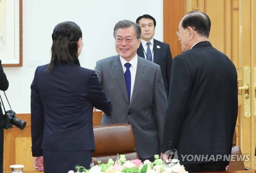 Moon holds rare meeting with N. Korea's titular head of state, leader's sister