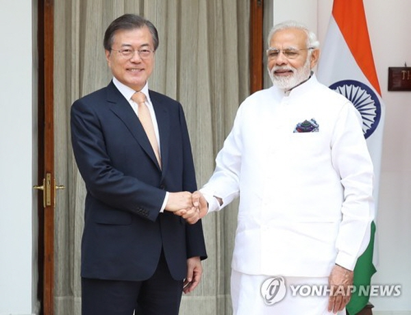 Leaders of S. Korea, India agree to boost bilateral trade to US$50 bln by 2030