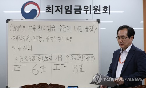 S. Korea to raise minimum wage for 2019 by 10.9 pct
