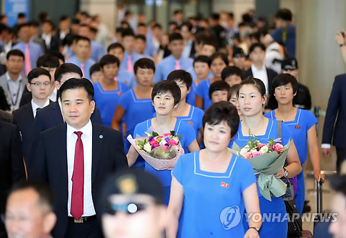 N. Korean athletes arrive in S. Korea for joint Asiad training