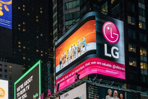 LG Electronics airs BTS video in New York's Times Square