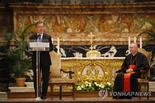 President Moon preaches Korean peace at Vatican