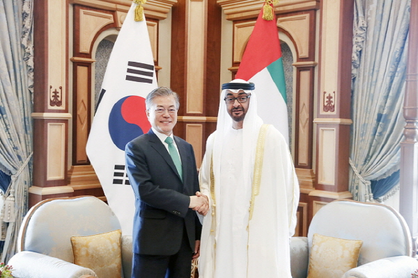 Moon to meet crown prince of Abu Dhabi on bilateral ties, economic cooperation