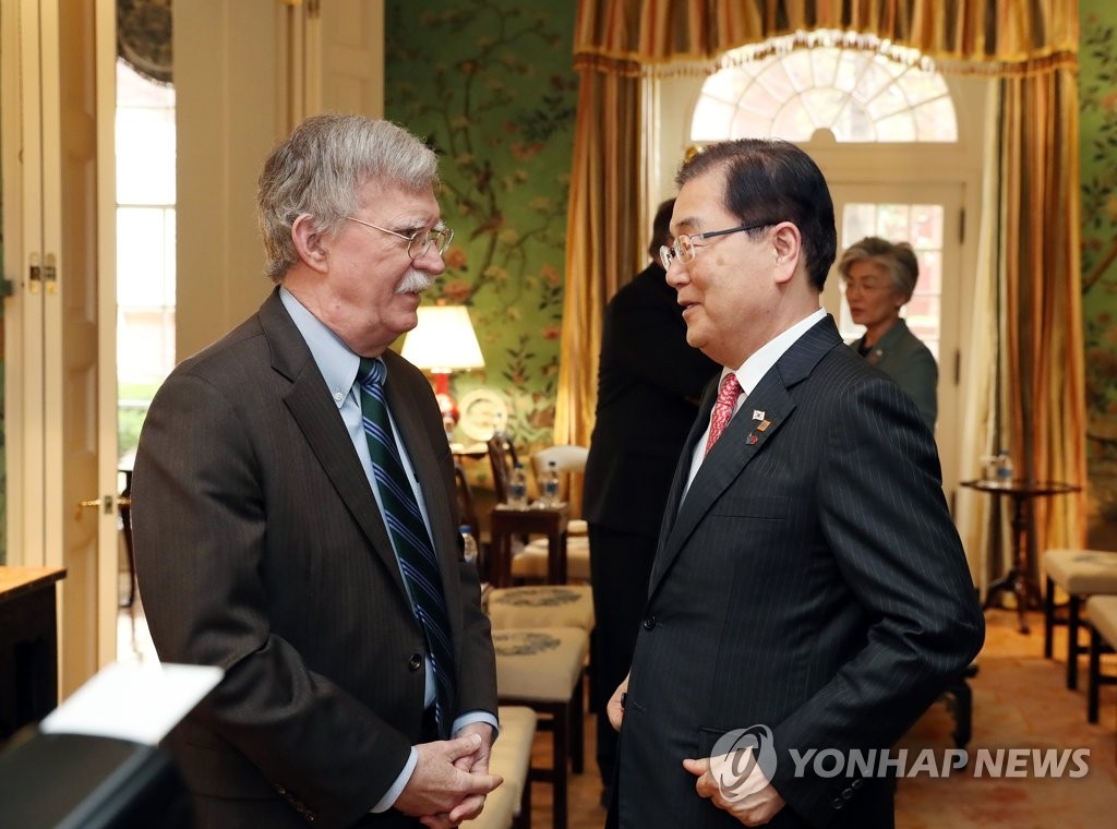 U.S. security adviser Bolton to meet top S. Korean officials this week: Cheong Wa Dae