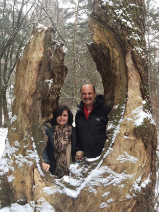 Ambassador and Mrs. Amal Nosseir of Egypt in the middle of an old tree in Pyeongchang in March 2019.
