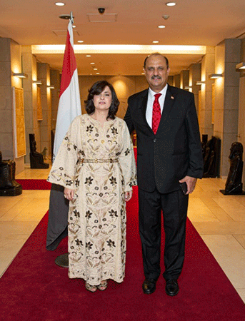 Ambassador and Mrs. Amal Nosseir of Egypt in Seoul (right and left) celebrating the Egypt National Day at the Official Residence in Seoul in July 2019.