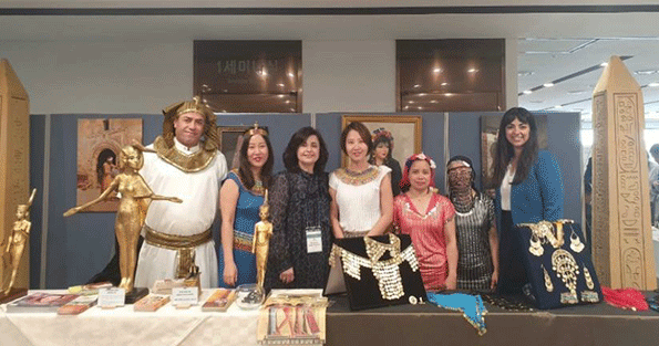 Mrs. Amal Nosseir (third from left) at the Egyptian booth at an Exhibition held at the Asan Medical Center in October 2019.