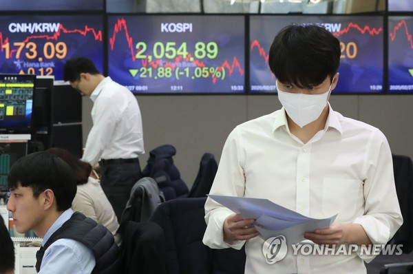This photo shows the trading room of Hana Bank in downtown Seoul on Feb. 27, 2020. The benchmark Korea Composite Stock Price Index (KOSPI) decreased 21.88 points, or 1.05 percent, to close at 2,054.89. (Yonhap)
