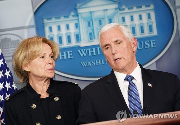 U.S. Vice President Mike Pence (right) speaking during a press briefing at the White House in Washington on March 2, 2020. White House Coronavirus Response Coordinator Ambassador Debbie Birx looks on.