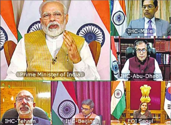 Prime Minister Shri Narendra Modi held a video conference with the Heads of all of India's Embassies.