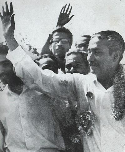 Sheikh Mujibur Rahman was conferred with the title 'Bangabandhu' at a mammoth rally of students and masses at Race Course Maidan (February 23, 1969).