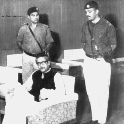 Bangabandhu Sheikh Mujibur Rahman was arrested and taken to West Pakistan shortly before the start of Operation Search Light on March 25, 1971. Bangabandhu Sheikh Mujibur Rahman, the undisputed leader of the Bengali nation surrounded by Pakistani troops at Karachi airport (April 4, 1971).