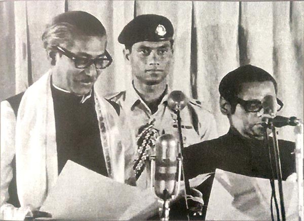 Bangabandhu Sheikh Mujibur Rahman takes oath as the Prime Minister of a free and independent Bangladesh (January 12, 1972).