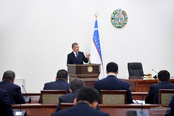 Shavkat Mirziyoyev, President of the Republic of Uzbekistan, during the video conference, held on May 5,2020.