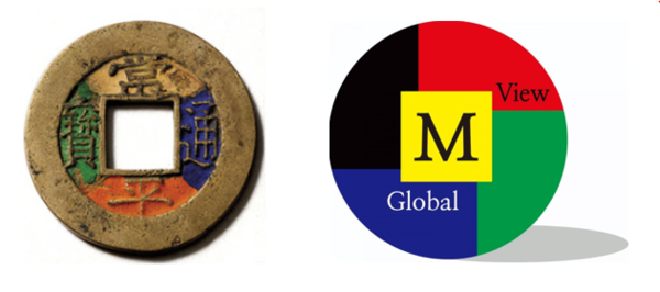 (Left) The money of Joseon Dynasty named SangPyoungTongBo (Right) The Company Logo of M.Veiw Global