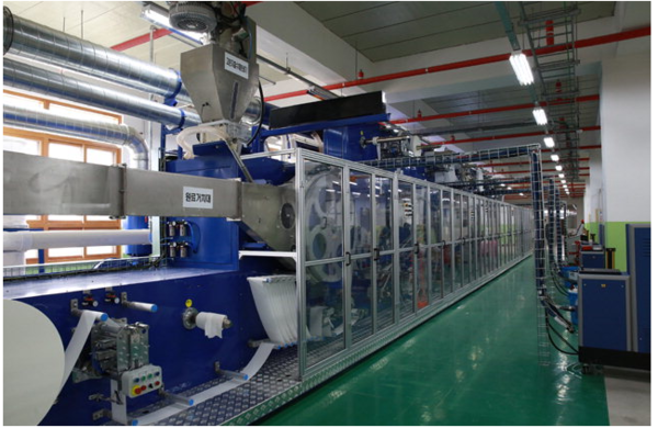 East Sea M-view Global, located at a free-trade zone. Mechanical equipment that produces sanitary pads and masks that are harmless to the human body by utilizing new materials.