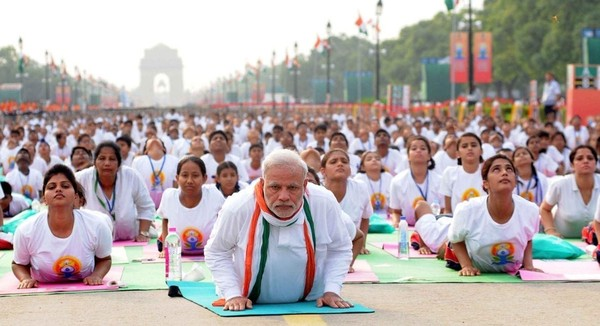 Another picture showing Prime Minister Modi of India leading a Yoga practice event.