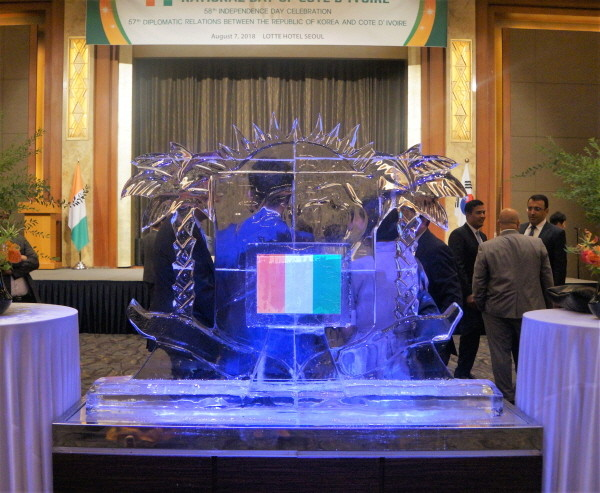 9. Ice logo work of Cote d'Ivoire at the reception venue.