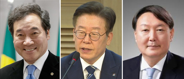 From left : Lee Nak-yon, Lee Jae-myung, Yoon Seok-yeol