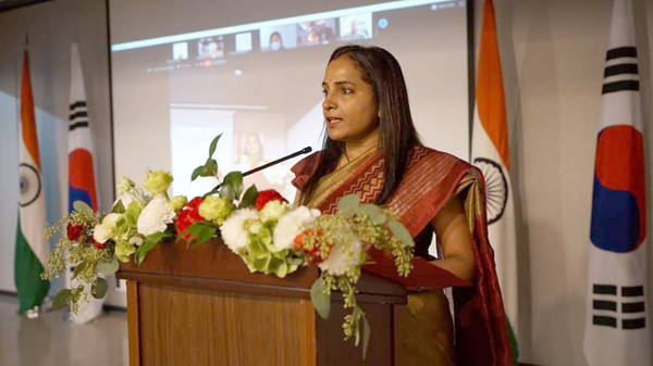Ambassador Sripriya Ranganathan of India in Seoul speaks at a meeting on the occasion of the National Day of India in Seoul on Aug. 15, 2020.
