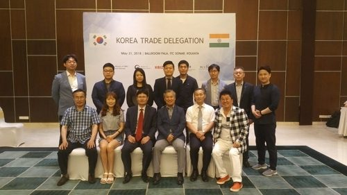 Photo shows members of the Korea Trade Delegation to India on May 31, 2018.
