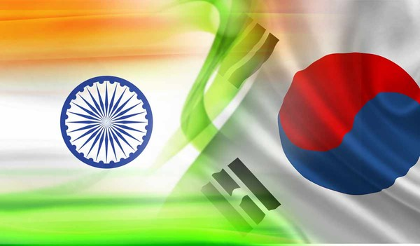 A merger of the national flags of Korea (right) and India. The picture signifies the continuously growing ties of relations and cooperation between Korea and India.