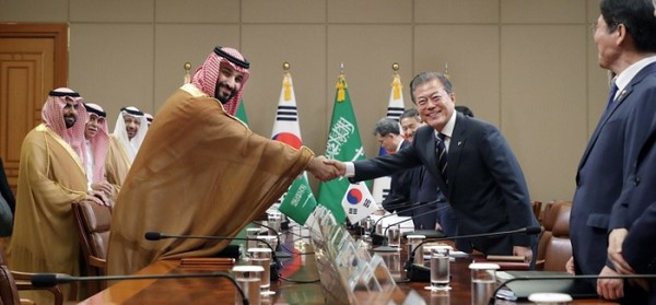 President Moon Jae-in (right) shakes hands with Crown Prince Mohammed bin Salman (left, foreground) ahead of the G20 Summit on June 27, 2019. Relations between Korea and Saudi Arabia date back to the United Silla Dynasty in Korea (AD 676-935).