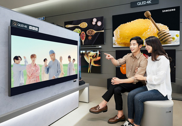 Samsung Electronics showcases the newest BTS Music Video 'Dynamite' on Samsung TV at its headquarters in Nonhyeon-dong, Seoul. / Courtesy of Samsung Electronics