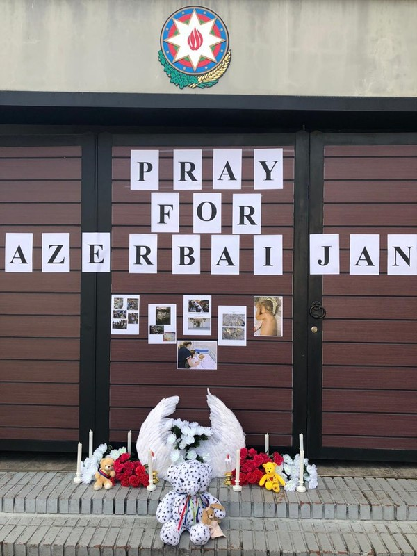 """Pray for Azerbaijan"" poster at the entrance of the Azerbaijan Embassy in Seoul"