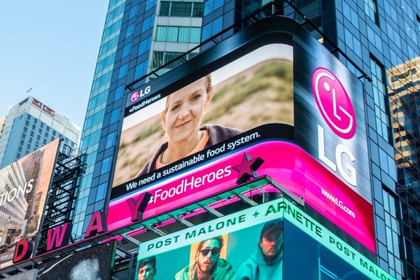 LG Electronics stages a campaign to combat hunger on the Times Square billboard to mark  the 'World Food Day.' / Courtesy of LG Electronics