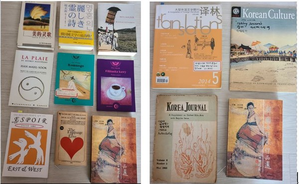 Some of the novels written by Novelist Han Malsook.(left) / More novels of Novelist Han published in foreign countries.(right)