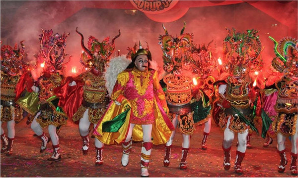 A traditional folk art performance of Bolivia wearing legendary figure masks, called Oruro Carnival