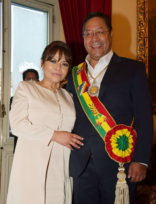President Luis Arce of Bolivia (right) with First Lady of Bolivia.