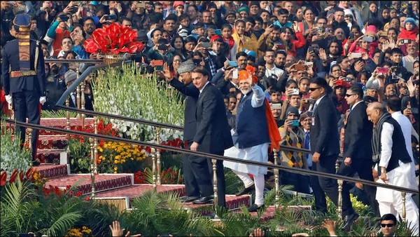 Prime Minister Narendra Modi with Brazil's President Jair Bolsonaro and President Ram Nath Kovind as they arrived to attend the Republic Day parade in New Delhi, on January 26, 2020.