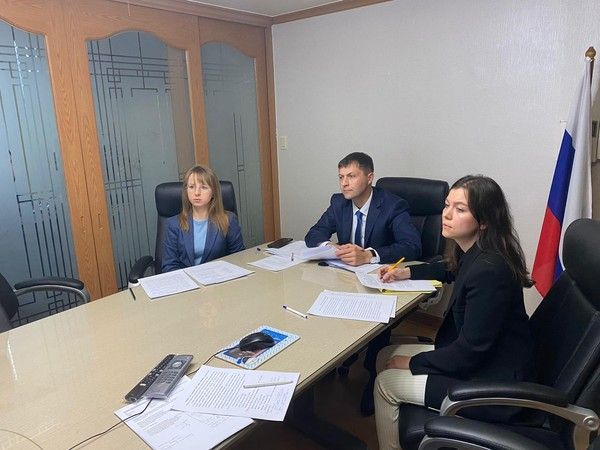 ​Trade Representative of Russian Federation in the Republic of Korea Alexander Masaltsev and employees of the Trade Representation during a video-conference with Russian exporting companies​