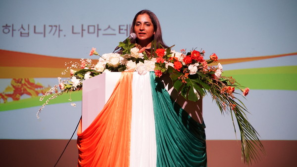 Ambassador Sripriya Ranganathan of India is posing for the camera at the National Day reception of India at the Kim Dae-jung Convention Center in Gwangju, Jeollanam-do Province on Jan. 31, 2020.